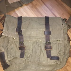Leather military satchel bag